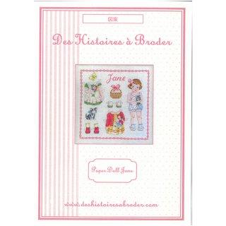 Paper doll Jane Fiche (ジェーン ペーパードール) クロスステッチ 図案
