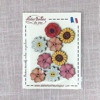 フランス 木製ボタンセット - ひまわりの花