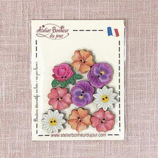 フランス 木製ボタンセット - すみれの花