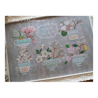 イタリア Cuore e baticuore(クオーレエバッティクオーレ) クロスステッチ図案 Inverno in Tazza 冬のお花とマグカップ
