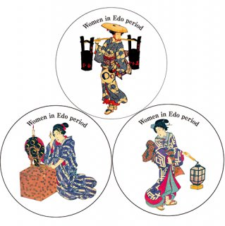 コースター 3枚セット 江戸の女性