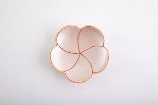 ピンク銀色【捻り梅形皿・小】