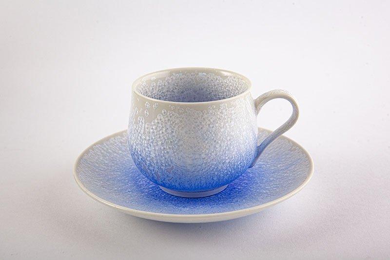 窯変藍染水滴 丸コーヒー碗皿