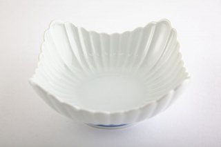白磁 菊割【角小鉢】