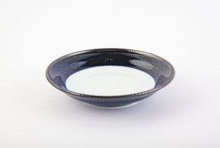 藍濃とび鉋 銘々皿