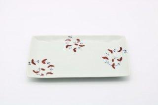 皓洋窯 さび唐草リーフリム焼皿(赤)