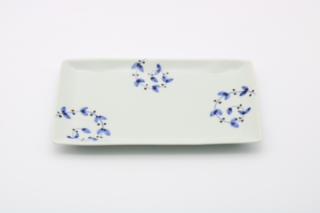 皓洋窯 さび唐草リーフリム焼皿(青)