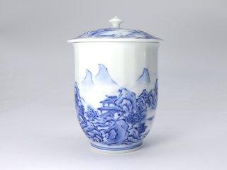 平戸松山窯【山水蓋つき湯呑】(大)