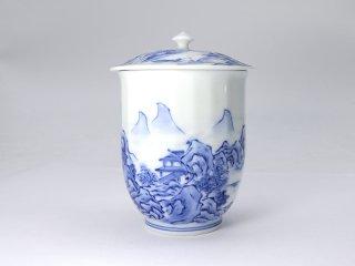 平戸松山窯【山水蓋つき湯呑】(小)