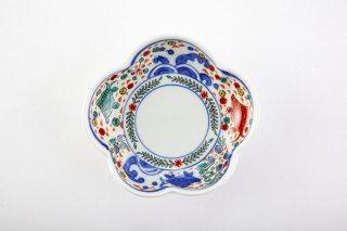 染錦魚藻文梅型小皿
