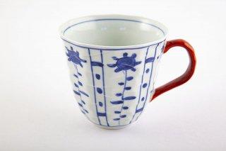 芙蓉花面取 マグカップ(赤)