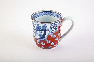 赤濃祥瑞梅花鳥マグカップ