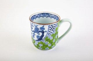 緑濃祥瑞梅花鳥マグカップ