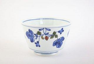 染錦草花紋 麺鉢