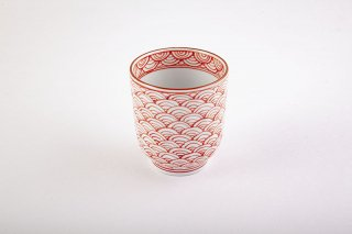 錦亀甲彫青海波 湯呑(小)