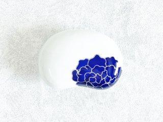 白磁青花 豆型蓋物