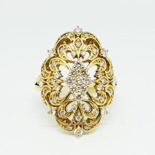 透かしのダイヤモンドリング K18YG