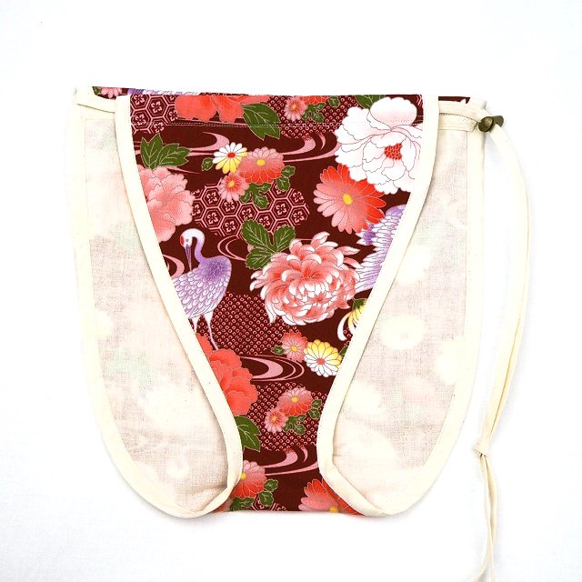 【レディース/コットンパンツ】えんじの牡丹鶴