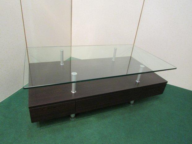 ニトリ ガラス センターテーブル ブラウン(木目調)