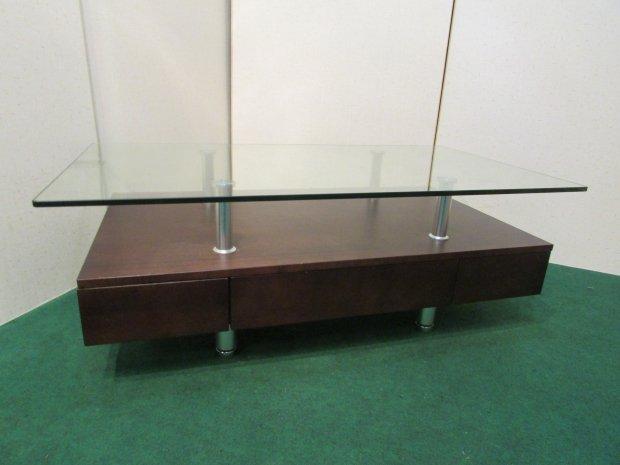ニトリ センターテーブル ガラスキャビネット ブラウン(木目調)