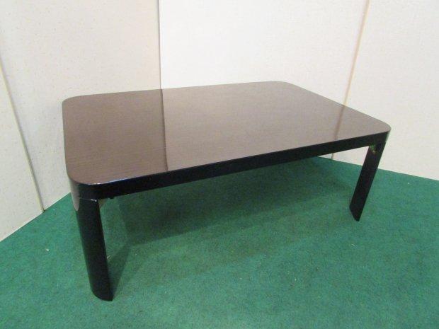 センターテーブル 折りたたみ式 ブラック(木目調)