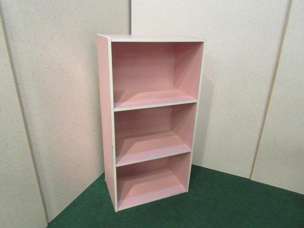 カラーボックス 3段収納 ピンク