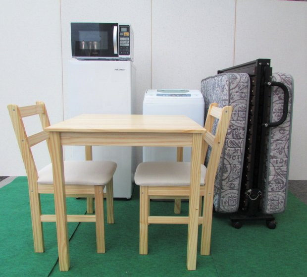 選べるセット 中古高年式家電家具 5点セット 冷蔵庫+洗濯機+電子レンジ+シングルベッド+テーブル椅子セット(国産・海外メーカー混合)