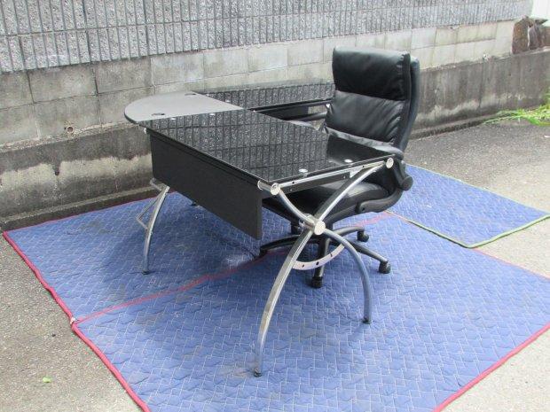 Gladiusグラディウス 事務用テーブル7台&イス(黒)×3・(青)×5セット