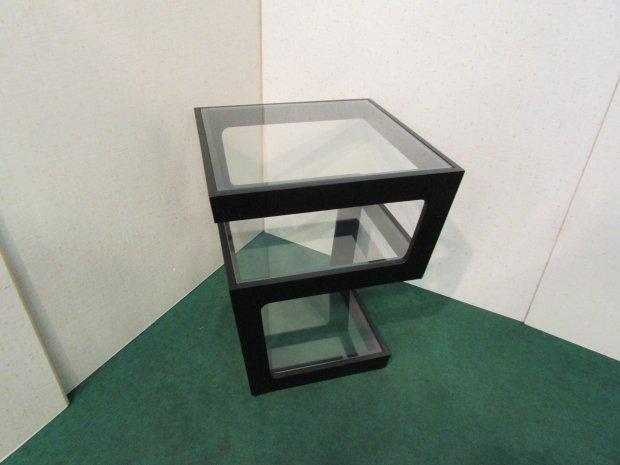 サイドテーブル ガラス(ブラック)