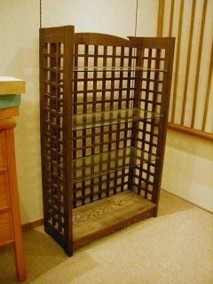 タモ格子組み飾り棚/本棚
