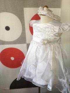 ◆送料お得プラン商品◆(G-90-1)ヘアバンド付き素敵な白ドレス90cm