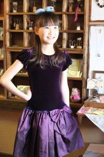 ◆送料お得プラン商品◆(G-130-29)シックなパープルのドレス130cm