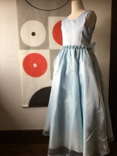 (G-150-13)ブルーのロング丈ドレス150cm