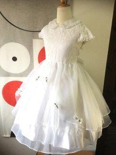 (G-130-69)ホワイトレースのドレス130cm