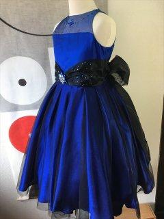 ◆送料お得プラン商品◆(G-130-75)ブルーのラインストーンドレス130cm