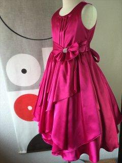 ◆送料お得プラン商品◆(G-130-74)リボンが素敵なドレス130cm