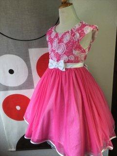 (G-130-87)バラのレースのドレス130cm