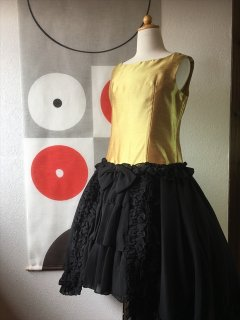 (G-150-39)リボンの可愛いゴールドのドレス150cm