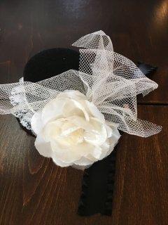 (K-34)ミニモチーフ帽子(黒×白)