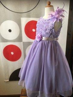 (G-120-118)パープルのお花のドレス120cm