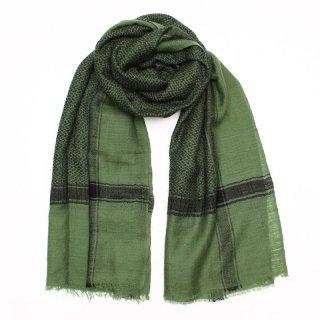 TAMANI◇手織り◇カシミヤ/パシュミナ100%|ストール|チェック(クーフィーヤ)|グリーン/ブラック