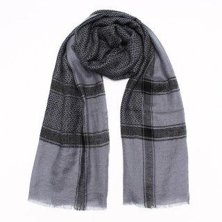 TAMANI◇手織り◇カシミヤ/パシュミナ100%|ストール|チェック(クーフィーヤ)|グレー/ブラック