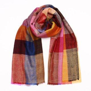 LALI◇手織り◇カシミヤ/パシュミナ100%|ストール|チェック|マルチカラー