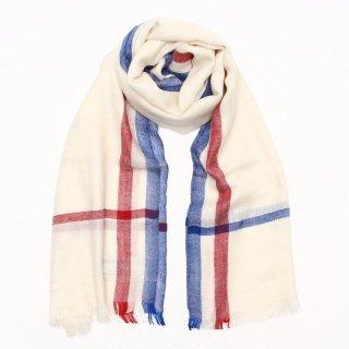PRIYA◇手織り◇カシミヤ/パシュミナ100%|ストール|ストライプ|ホワイト/レッド&ブルー
