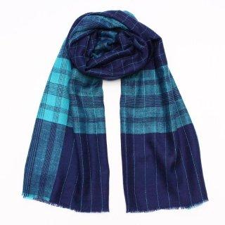 IVY◇手織り ハンドメイド◇カシミヤ/パシュミナ100%|ストール|ボーダー|ブルー/スカイブルー