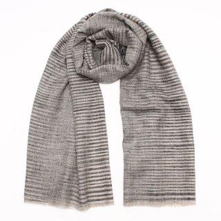 LAILA◇手織り ハンドメイド◇カシミヤ/パシュミナ100%|ストール|ボーダー|ネイチャー/ブラック
