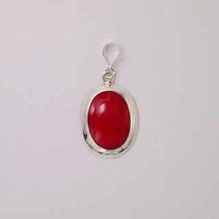 ドライコーラル(珊瑚)&シルバー(SV925)|オーバル(楕円型) ペンダントトップ(赤)ハンドメイド|Shell&Stone