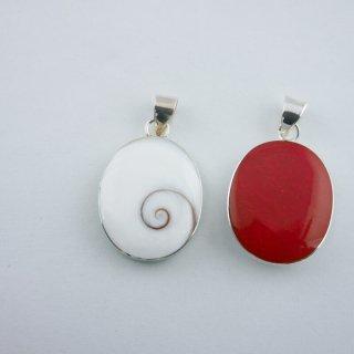 シヴァアイ&ドライコーラル(珊瑚)|ビックオーバル(楕円型) ペンダントトップ ハンドメイド|ShivaEye|Shell&Stone