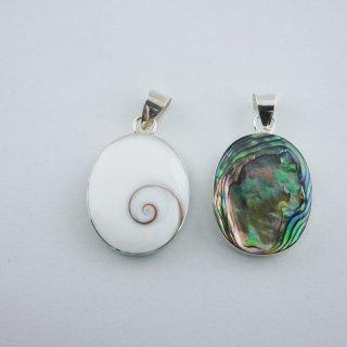 シヴァアイ&レインボーアバロンシェル|ビックオーバル(楕円型) ペンダントトップ ハンドメイド|ShivaEye|Shell&Stone