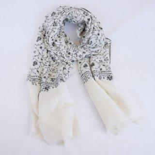 カシミヤ 手織り ストール|一品モノ|ジャアリ 手刺繍 パシュミナ|生地:オフホワイト|刺繍:黒